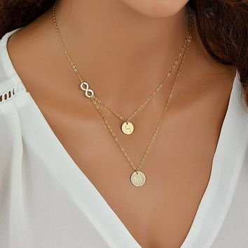Delicate Layered Necklace, Gold Infinity Necklace, Personalized Disc Necklace, Women Necklace, Gift For Her
