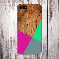 Geometric Hot Pink x Lime Green Wood Design Case for iPhone 6 6 Plus iPhone 5 5s 5c iPhone 4 4s Samsung Galaxy s6 s5 s4 & s3 and Note 4 3 2