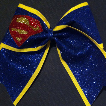 3in. Glitter Superman Superhero Cheer Bow