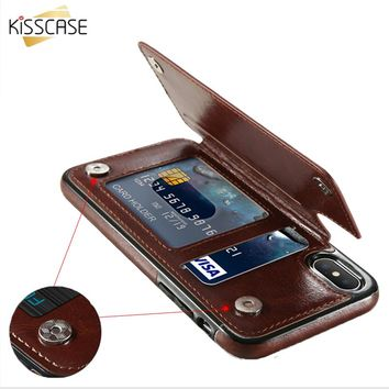 Retro PU Leather Case For iPhone X 10 8 7 6 6s Plus Card Holders