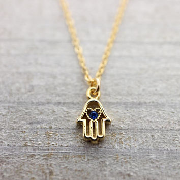 Tiny blue zircon heart hamsa gold filled chain gold necklace