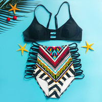 Black Spaghetti Strap Cut Out Geometric Print Bikini Set