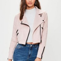 Missguided - Nude Crop Suedette Biker Jacket