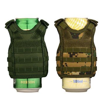 BEER VEST Tactical Beer Bottle Cover Military Mini Miniature Molle Vest Personal Bottle Drink Set Adjustable Shoulder Straps