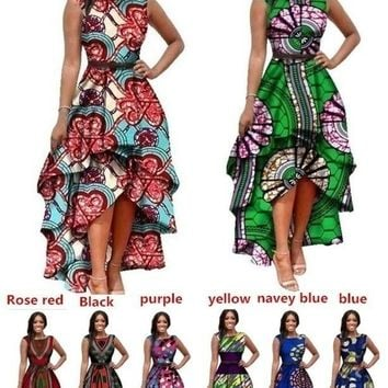 2018 African Women's Fashion Long Sleeve Printed Party Dress