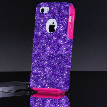 Otterbox iPhone 5c Case Glitter Commuter Purple iPhone 5c Custom Otterbox Sparkly Bling Glitter iPhone Case