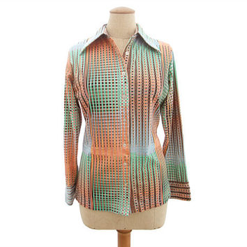 Vintage 1970s Blouse Stretch Knit Op Art by mysweetiepiepie