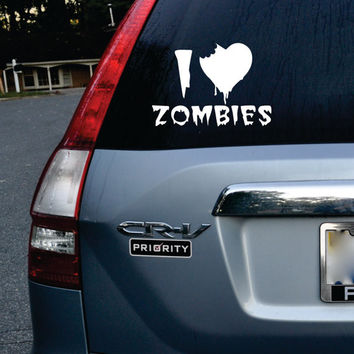 I Love Zombies Car Window Design Decal Sticker Wall Vinyl Art Decor