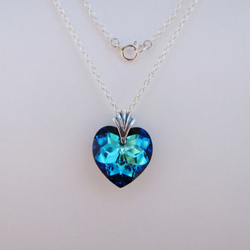 Sterling Silver Bermuda Blue Swarovski Crystal Heart Necklace, Blue Necklace, Swarovski Crystal Necklace, Blue Crystal Neckalce