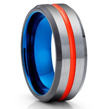 Orange Tungsten Ring - Blue Tungsten - Gray Wedding Band - Black Ring