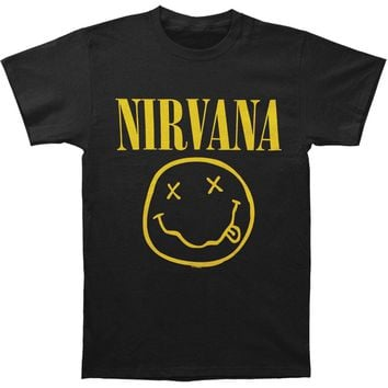 Nirvana Men's  Smile One Sided Mens Soft T Slim Fit T-shirt Black