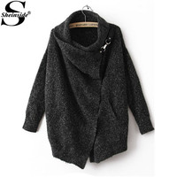 Sheinside Women Casual Knitwear Knitted Winter/Autumn Brand Elegant Vintage Fashion Lapel Long Sleeve Ouch Cardigan Sweater