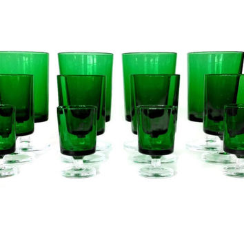 Luminarc Emerald Green Bar Glasses, Set of Twelve, Wine Glasses, Shot Glasses, Cordial Glasses