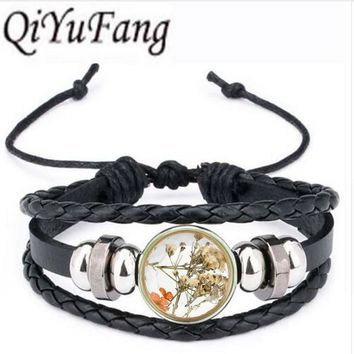 Qiyufang Women Jewelry Collares Dried Flowers Glass bracelet bangle Gold Vintage Long Chain bracelet bangle Summer Fine Jewelry