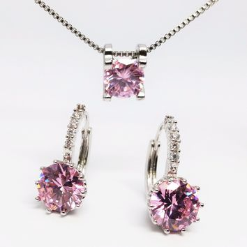 ON SALE - Elena Bold Solitaire Necklace and Hoop Earrings Set in Blushing Pink or Diamond White