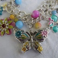 Vintage Butterfly Bib Necklace, Enamel Lucite, Butterflies Flowers Beads, Butterfly Jewelry Multicolor Necklace
