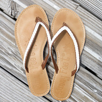 Sail The Seven Seas Braided White & Tan Thong Sandals