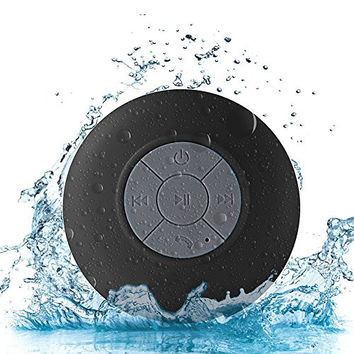 Protmex Water Proof Bluetooth 3.0 Speaker, Mini Water Resistant Wireless Shower Speaker, Handsfree Portable Speakerphone with Built-in Mic, For Shower or Outdoor Activities(Black)