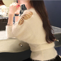 Butterfly bat sleeve round neck sweater