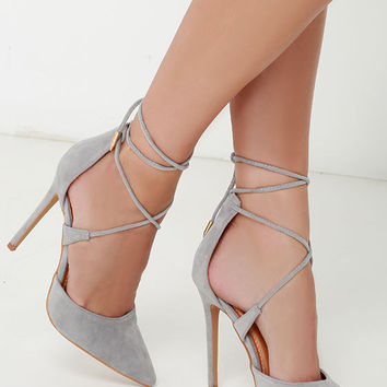 Nikki Grey Suede Lace Up Heels