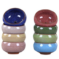 Colorful Round Ceramic Mini Flowerpot With Hole