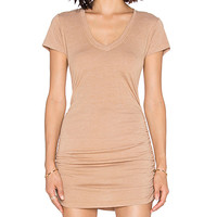 Cap Sleeve Shirred V Neck Dress in Sahara