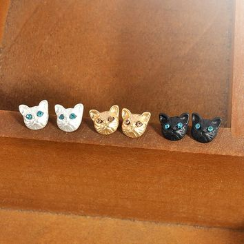 1 Pair Cute Cat Stud Crystal Eyes Earrings 3 Colors