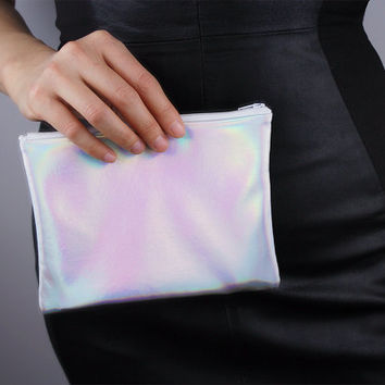 Holographic Mini Envelope Pouch Clutch Metallic Matte Silver Vegan Patent PU Leather Small Purse Wallet Handbag Handmade