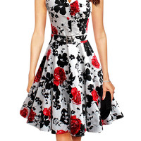 Floral Print Belted A-Line Dress