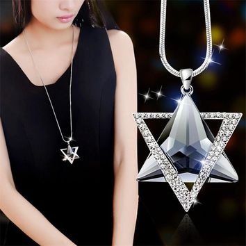 Luxury Rhinestone Necklace Women David Star Pendants Necklace Gifts Crystal Sweater ChainsSimple Romantic Women Chain Necklace