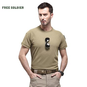outdoor 100% Coolmax low-key tactical shirt round collar quick-drying short-sleeved mens t-shirt