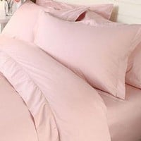 QzzieLife 1500T Soft Egyptian Cotton Solid Bedding 3PC Duvet Cover Set Pink Full/Queen Size