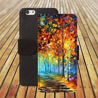 iphone 5 5s case colorful tree watercolor iphone 4/ 4s iPhone 6 6 Plus iphone 5C Wallet Case , iPhone 5 Case, Cover, Cases colorful pattern L073