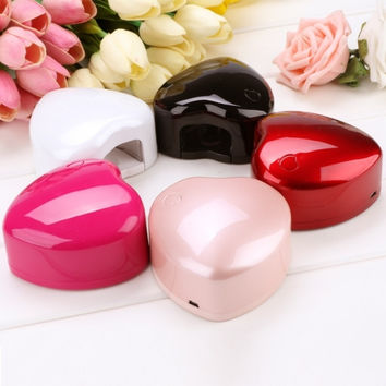 New Fashion Portable 1.5 W LED Light Nail Dryer Heart Shaped Nail Art Curing Lamp Nail Care Machine For UV Gel Nail Polish