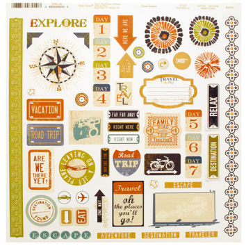 Travel Words & Icons Sticker Sheet ( Case of 24 )