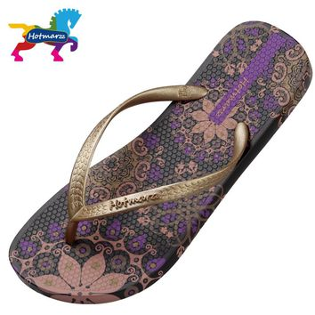Hotmarzz Women Beach Flip Flops Bohemia Floral Summer Slippers Ladies 2017 Fashion Sandals Shower Slides