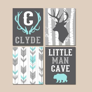 Little Man Cave, WOODLAND NURSERY Wall Art, Baby Boy Deer Art, Arrows Deer Bear, Deer Antlers Birch Tree, Canvas or Prints, Set of 4 Decor