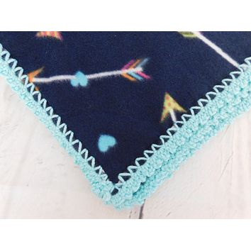 Handmade Crochet Edge Baby Fleece Blanket, Arrows and Hearts