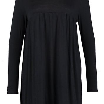 Plus High Neck Sleeve Smock Dress | Boohoo