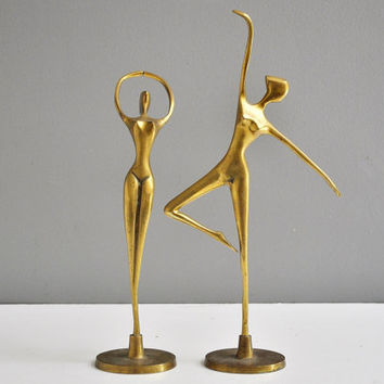 Pair of Mid-Century Giacometti Style Brass Dancer Statues