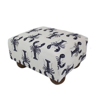 Navy Blue Lobsters Nautical Upholstered Fabric Footstool Ottoman
