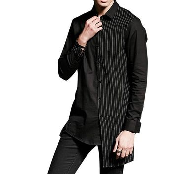 Male Punk Gothic Style Asymmetric Casual Shirt Stripe Splice Long Sleeve Dress Shirt