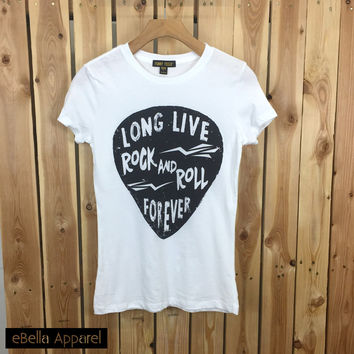 Long Live Rock And Roll Forever - Women's Basic White Short Sleeve, Graphic Print Tee