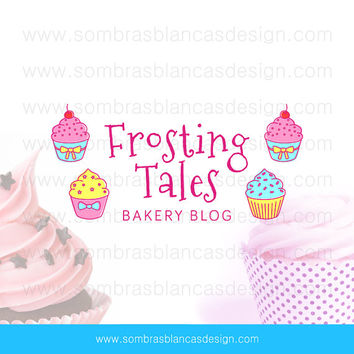 OOAK Premade Logo Design - Cupcake Doodles - Perfect for a cake decorator or a sweet treats recipe blog