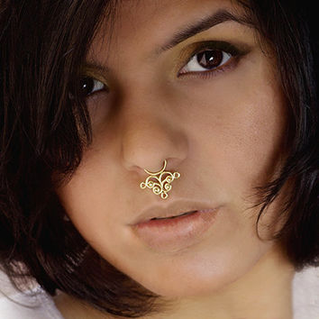 Unique gold plated septum for non pierced from ronibizaetsy on - Decorative septum jewelry ...