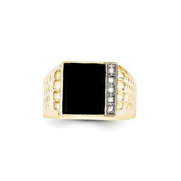 10k Yellow Gold Onyx & Diamond Men's Ring