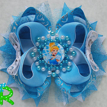 Cinderella Boutique Hair Bow ,Princess  Ott Bow, Disney Layered Bow , Blue Stacked Bow