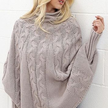 Cape Style Sweater -  Grey