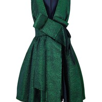 Green Metallic Jacquard Bow Dress