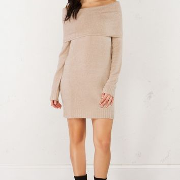 Plush Long Sleeve Sweater in Taupe